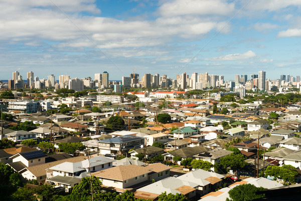 White Clouds Blue Skies Residential Homes Downtown City Skyline  Stock photo © cboswell