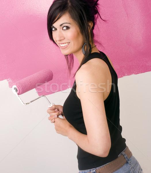 Pintura vida morena mujer pared apartamento Foto stock © cboswell