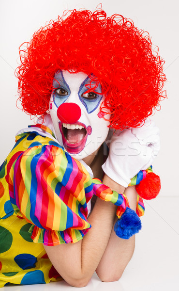 Clown Yelling Close Up Portrait Bright Beautiful Female Performe Stock photo © cboswell