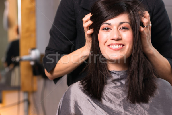 Stock photo: Spa Day Pretty Brunette Woman Head Message Beauty Salon