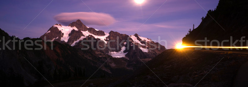 Mount Mt Shuksan Bright Moon Night Car Headlights Stock photo © cboswell
