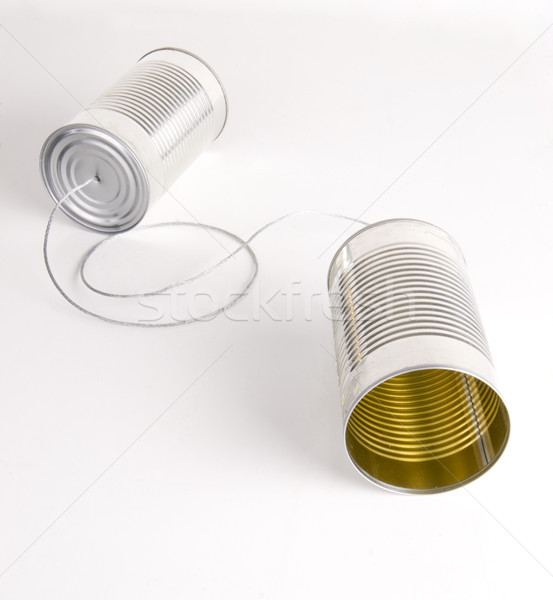 Two Cans Strung Together With Metal Wire Walkie Talkie Stock photo © cboswell