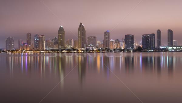 San Diego éjfél sziluett késő éjszaka víz Stock fotó © cboswell