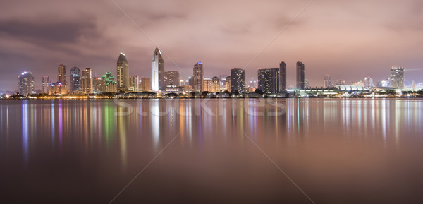 Photo stock: San · Diego · Californie · Skyline · nuit · eau · ville
