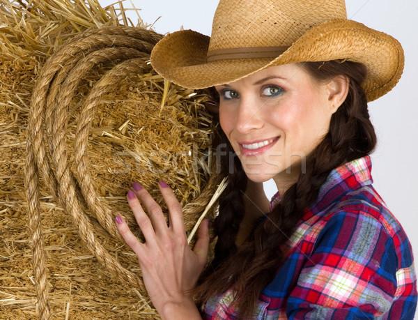 Chica de campo retrato occidental mujer paca heno Foto stock © cboswell
