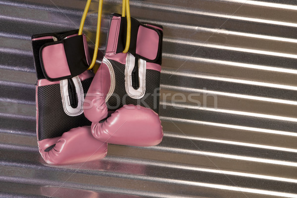 Pink Boxing Gloves Hanging on a Hook Stock photo © cboswell