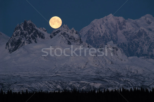 Full Moonrise over Mount McKinley Denali Range Alaska Midnight Stock photo © cboswell