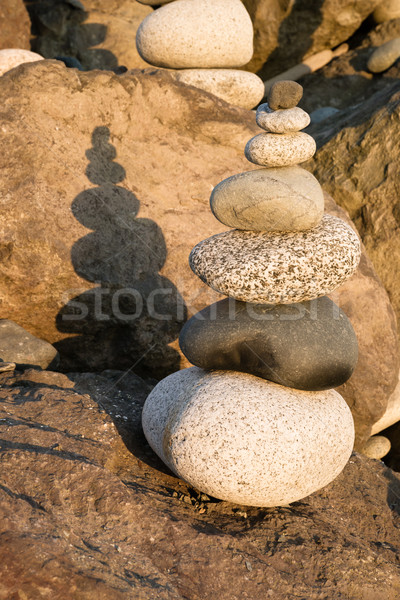 Beach Rock Stacking Balancing Vertical Composition Stock photo © cboswell
