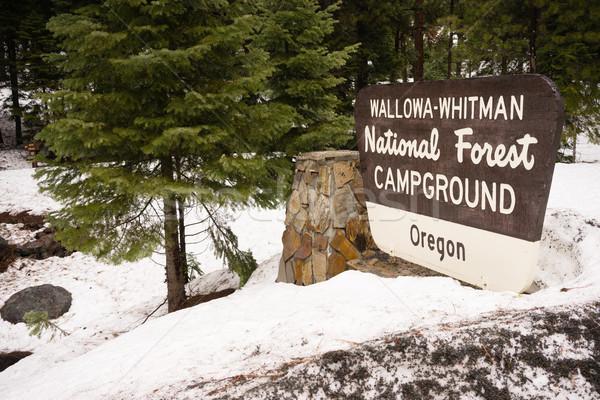 Wallowa Whitman National Forest Oregon Campground Sign USA Stock photo © cboswell