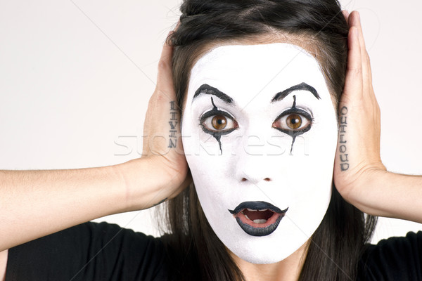 Beautiful Brunette Woman Theatrical Performance Mime Dance White Stock photo © cboswell