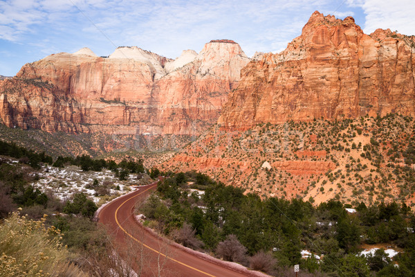 Highway 9 Zion Park Blvd Road Buttes Altar of Sacrifice Stock photo © cboswell