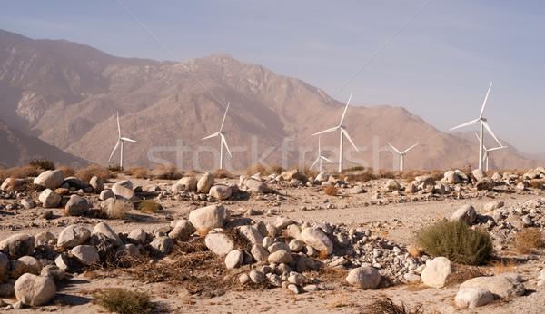 Clean Green Energy Wind Turbines Alternative Desert Power Stock photo © cboswell