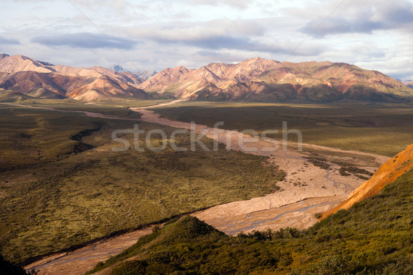 River Valley and Mountains Alaska Denali Range USA Stock photo © cboswell