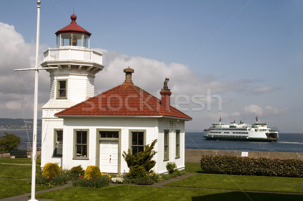 Washington State Coastal Lighthouse Nautical Beacon Ferry Boat T Stock photo © cboswell