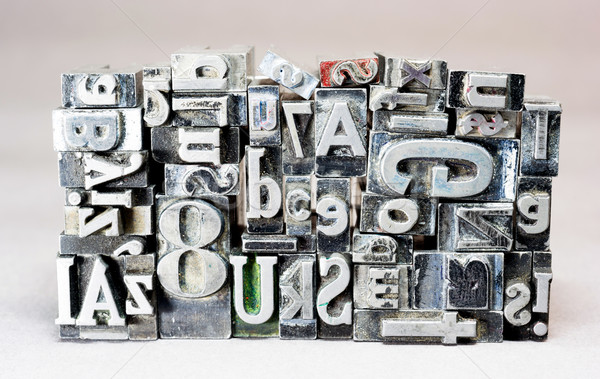 Metal Type Printing Press Typeset Obsolete Typography Text Lette Stock photo © cboswell