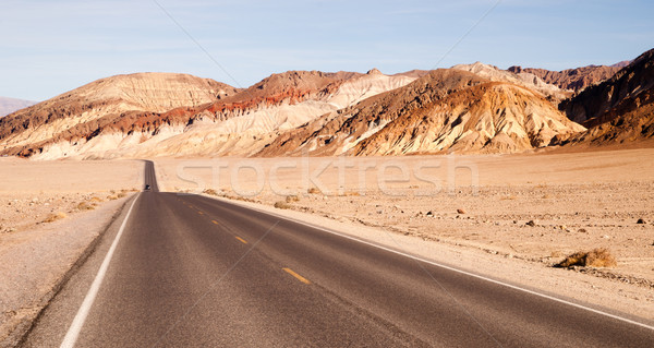Lonely Car Long Highway Badwater Basin Death Valley Stock photo © cboswell