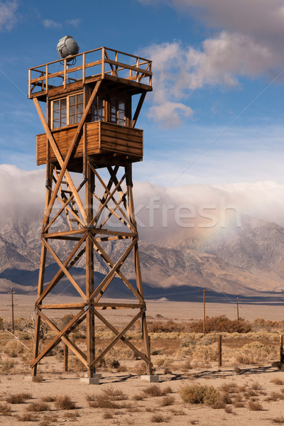 Guard Tower Searchlight Manzanar National Historic Site Californ Stock photo © cboswell