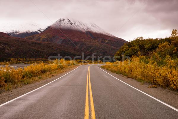Karayolu renkler Alaska dağlar sonbahar hava durumu Stok fotoğraf © cboswell