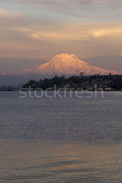 Mt Rainier Sunset Cascade Range Puget Sound North Tacoma Washing Stock photo © cboswell
