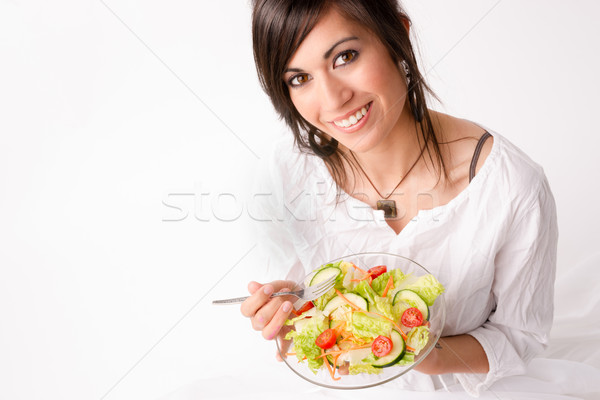 Healthy Eating Woman Enjoys Raw Food Fresh Green Salad Stock photo © cboswell