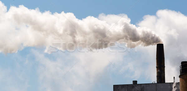 Paper Mill Smokestack White Smoke Blue Sky  Stock photo © cboswell