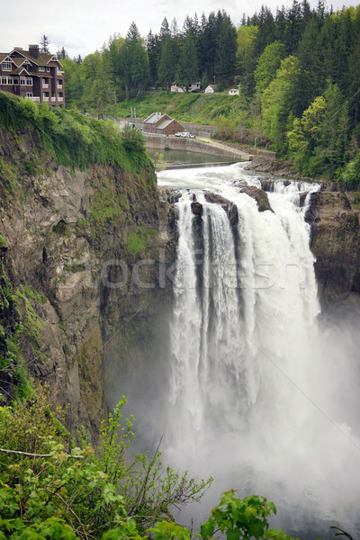 Snoqualmie Falls River Washington Waterfall Powerhouse Stock photo © cboswell