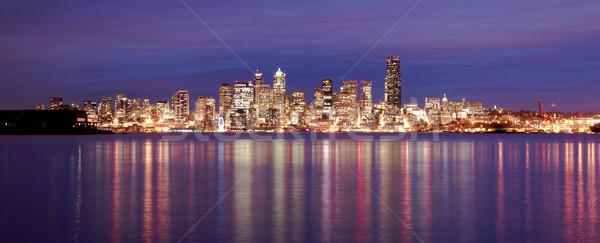Centrum Seattle skyline geluid kantoorgebouw nacht Stockfoto © cboswell