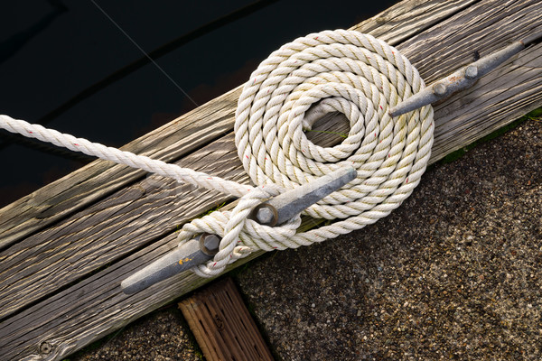 Beautiful Swirled Curled Rope Boat Bow Line Nautical Tie Down Stock photo © cboswell