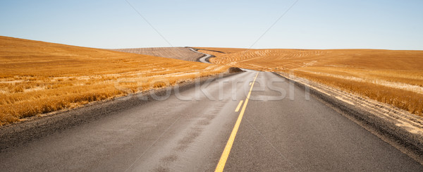 Open Road Two Lane Highway Oregon Landscape Harvested Farmland Stock photo © cboswell