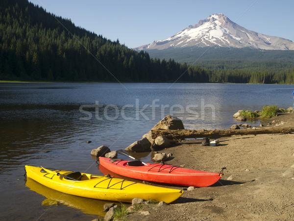 Red Yellow Kayaks on Shore Trillium Lake Mount Hood Oregon Stock photo © cboswell