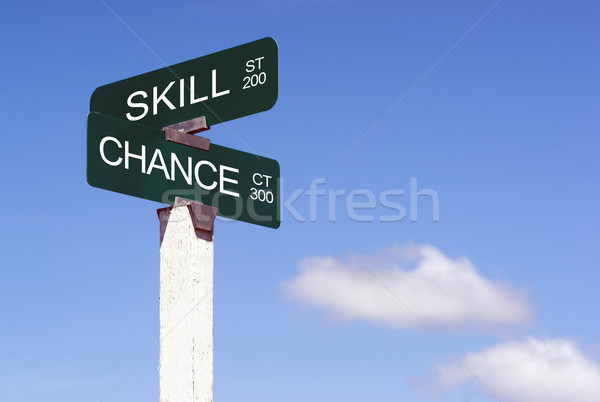 Signs Crossraods Skill Street Chance Avenue Sign Blue Skies Clou Stock photo © cboswell