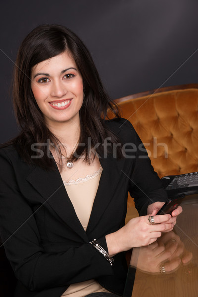 Ordinary Brunette Woman Draws Attention Girl Next Door Business  Stock photo © cboswell