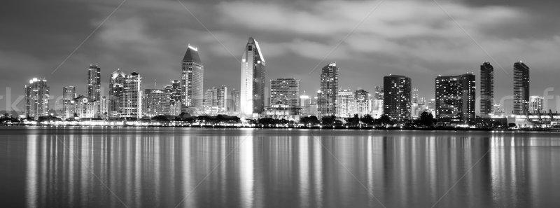 Tarde noite San Diego centro da cidade nuvens Foto stock © cboswell