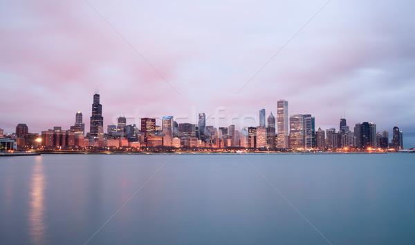 Foto stock: Nascer · do · sol · cor · céu · lago · Michigan · Chicago