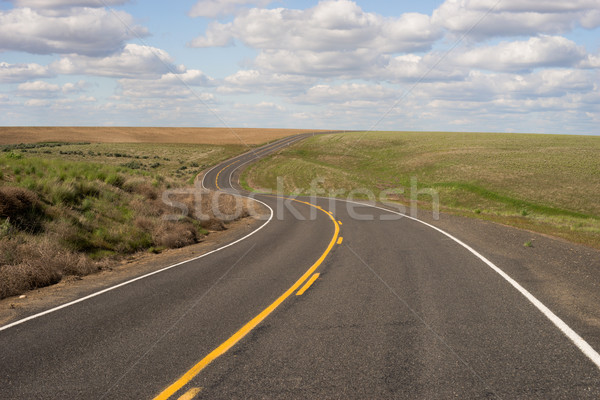 Paved Two Lane Road Highway Transportation White Clouds Blue Skk Stock photo © cboswell