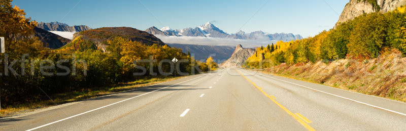 Empty Highway One Fall Season Open Road Alaska Stock photo © cboswell