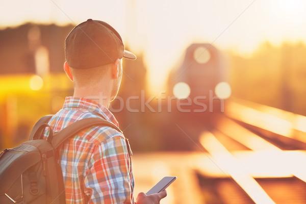 человека поезд молодым человеком электронных билета Сток-фото © Chalabala