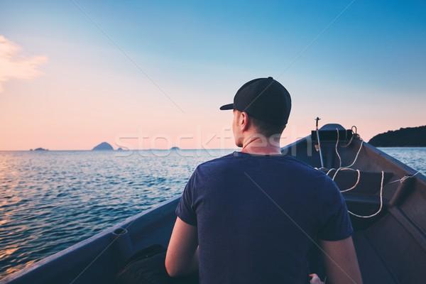 Macera deniz genç turist motorbot Stok fotoğraf © Chalabala