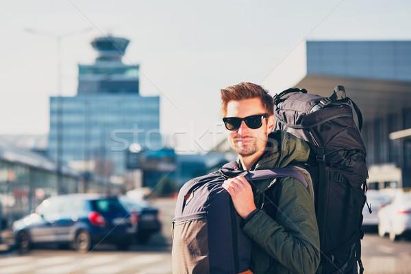 Gezgin havaalanı portre genç sırt çantası Çek Stok fotoğraf © Chalabala