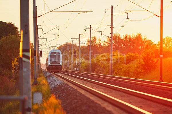 Railway at the amazing sunset Stock photo © Chalabala