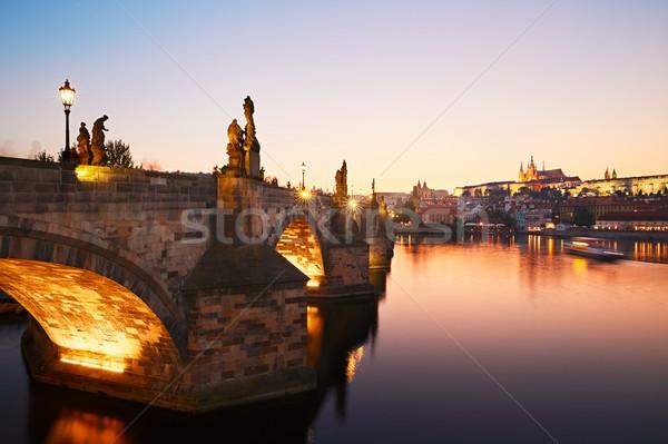 Köprü şaşırtıcı gün batımı bir Çek cumhuriyet Stok fotoğraf © Chalabala
