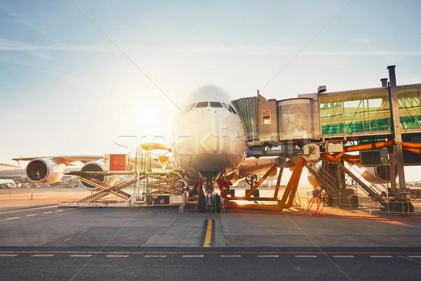Havaalanı gün batımı meşgul hazırlık dev Stok fotoğraf © Chalabala