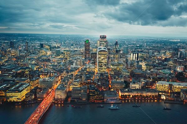 şehir akşam karanlığı krallık büyük britanya kuzey iş Stok fotoğraf © Chalabala