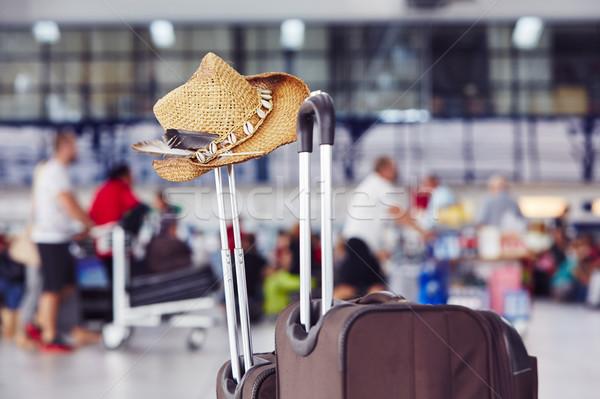 Bagaj havaalanı hasır şapka yaz seyahat bavul Stok fotoğraf © Chalabala