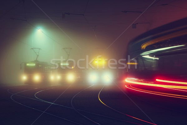 Tram station at the night Stock photo © Chalabala