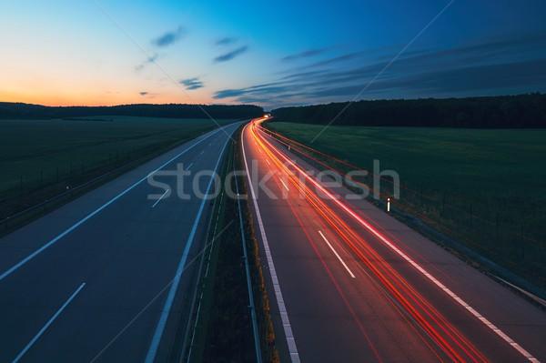 Stockfoto: Zonsopgang · snelweg · staart · lichten · auto · vervoer