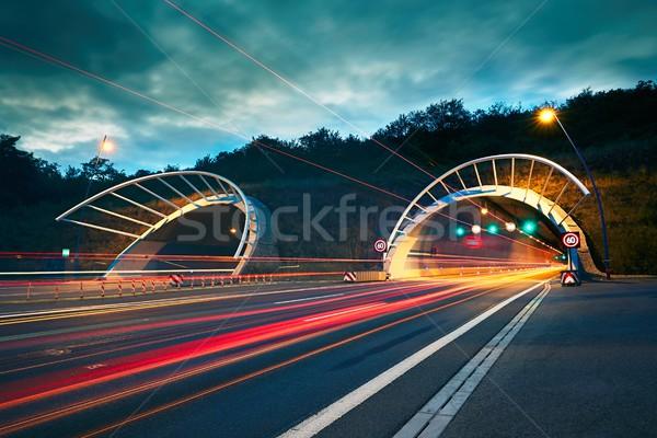 Karayolu tünel gece trafik ışıklar araba Stok fotoğraf © Chalabala