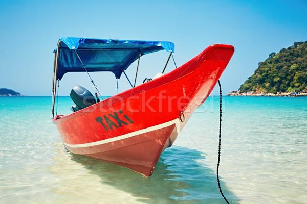 Tekne taksi plaj tropikal plaj doğa Stok fotoğraf © Chalabala