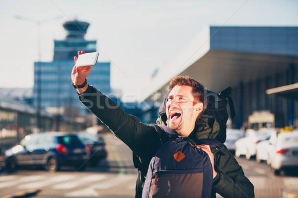 Gezgin havaalanı Çek cumhuriyet gülümseme Stok fotoğraf © Chalabala