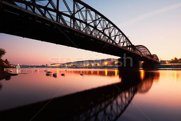şaşırtıcı gündoğumu şehir demiryolu köprü yansıma Stok fotoğraf © Chalabala